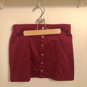 Button up maroon skirt, forever 21
